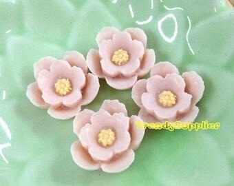 4pcs Little Cherry Blossom Cabochons - Pale Violet (076)