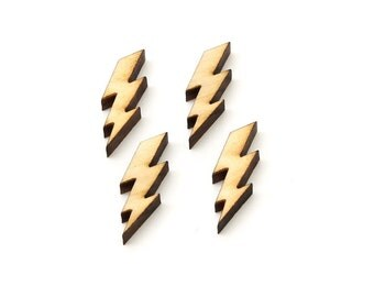 "Lightning Bolt Charms - 1"" -Electricity Jewelry Finding for Earrings and other Craft DIY . Set of 4 from Timber Green Woods"
