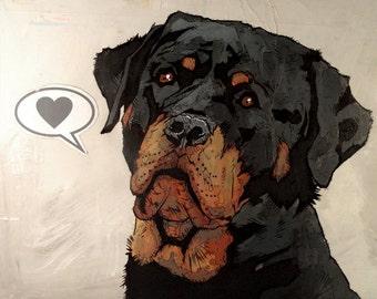 Rottweiler - 8x10 Art Print - Love - Dog