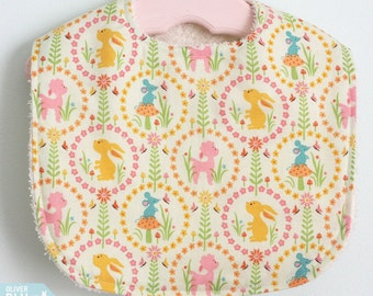 The Dressy Drooler Bib in woodland creatures print
