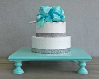 """14"""" Cake Stand Square Cupcake Rustic Teal Robins Egg Blue Wedding Event Decor By E. Isabella Designs. As Featured In Martha Stewart Weddings"""