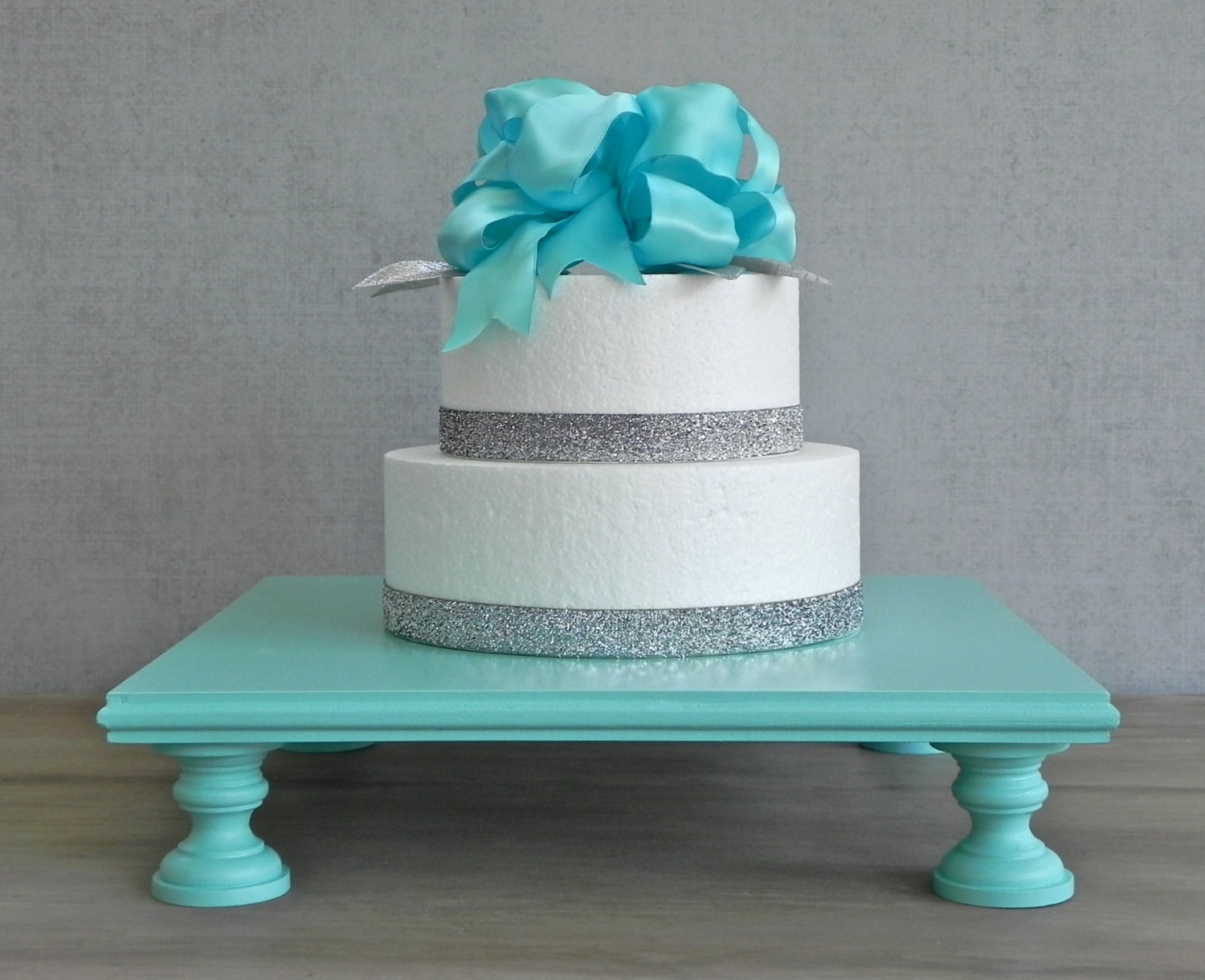 14 Cake Stand Square Cupcake Rustic Teal Robins Egg Blue