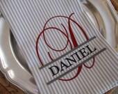 Tea Towel - Monogram - Split Script Letter with Name - Whim - Earl Grey Stripe