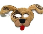 Puppy Dog Mask, Dress Up, Farm Animal Birthday Party Favor, Children's Halloween Costume, Adult Mask