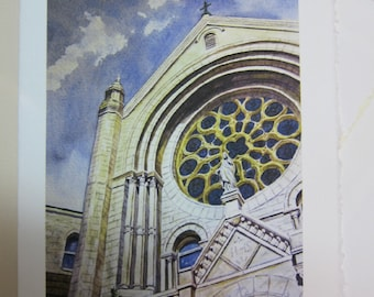 Sacred Heart Catholic Church 5 x 7 note card watercolor print Tampa Florida