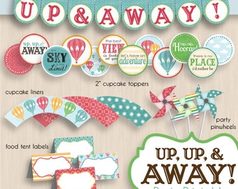HOT AIR BALLOON Birthday Party Printable Package in Vintage Rainbow- Editable Instant Download