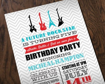 ROCK STAR GUITAR Boy Birthday Printable Invitation in Red and Turquoise Aqua Blue