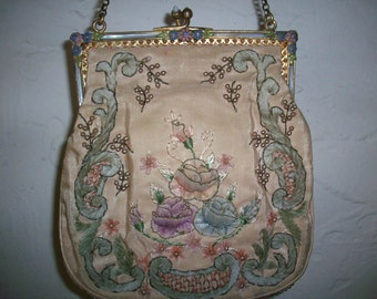 Ribbon work purse is stunning.  beading, bullion gold thread embroidery