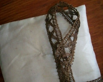 1 yd Hand done Antique french metal torchon lace trim 19th century