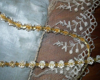 1 yd. Exquisite and Authentic antique silk and metal garland-like trim