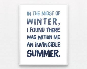 Typography Print Midst of Winter Invincible Summer Typography Poster Shibori Print Denim Shibori Wall Art Shibori Poster Blue Bathroom Art