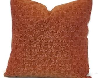 "Decorative Pillow Cover 18"" X 18"" Burnt Orange/Rust Throw Pillow, Cushion Cover,   Home Decor Fabric"