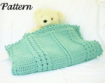 Crochet afghan PDF PATTERN cabled throw blanket textured lines lacy border home decor lap cover feminine solid color bedding warm winter