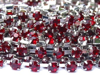 3 feet Siam Red 3mm 12SS Rhinestone silver tone Rhodium plated brass chain trim - middle east stone - 36 inches
