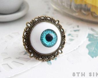 Antique Bronze & Blue Eyeball Ring, Blue Eye Ring, Blue Evil Eye Ring, Bronze Eyeball Ring, White Eyeball Ring, Doll Eye Ring, BJD Eye Ring