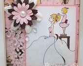 Gorgeous WEDDING - bride and flower girl card - OOAK