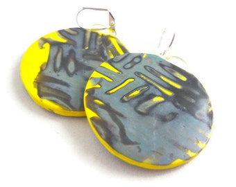 Yellow and gray large dangle earrings