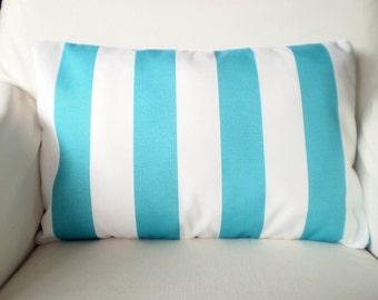 OUTDOOR Aqua White Stripe Pillow Cover, Throw Pillows Cushion Cover Lumbar Turquoise Aqua White Stripe Ocean Beach, One 12 x 16 or 12 x 18