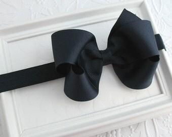 Dark Navy Blue Bow Headband, School Uniform Bow Headband, Nautical Wedding, Prep School, Navy Blue Hair Bow, Preppy Hair Bows, Baby Headband