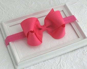 Hot Pink Baby Bow Headband,  Baby Headband, Newborn Headband, Large Bow Headband, Baby Girl Hair Accessories, Toddler Bow, Pink Bow Headband