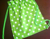 Drawstring Bag Backpack Lime Green Polka Dot Other Colors Available