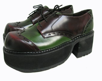 Club Kid Platform Shoes Women Green and Burgundy Leather Brogue Stacks Wms US Size 10