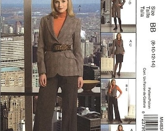 McCalls Separates Pattern M5483 - Misses' Lined Vest and Jacket, Belt and Pants  - Sz 8/10/12/14