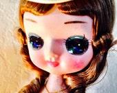 Bradley Scottish Big-Eyed Doll with Plaid ruffled dress and hat