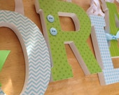 Baby Name Letters, Wooden Nursery Letters, Baby Blue and Lime Green Theme, Baby Boy, Nursery decor, Custom Name Letters, Chevron, Polka dots