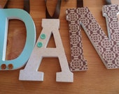 Wooden Letters, Aqua, Brown and Cream, Nursery Wall Letters,TRANQUIL Theme,Baby Boy Nursery, Name Letters Hanging,Neutral Tones, Shower Gift