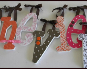 Set of 9 Wooden Nursery Wall Letters,SIX INCH Custom Letters, choice of font, personalized baby gift, shower decor