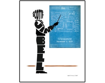 Personalized Male Electrical Engineer Print, Unframed Engineer Name Art, Gift for Electrical Engineer