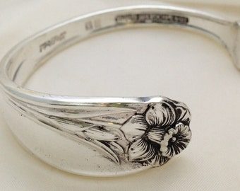 Spoon Bracelet. Daffodil 1950. Cuff Bracelet.  Spoon Jewelry. Silverware Jewelry. Silver Bracelet.
