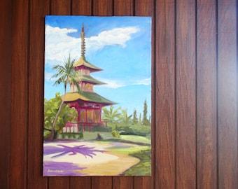 Buddhist mission Maui Lahaina Jodo Buddist Mission painting Very large original art spiritual art