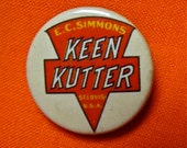 Vintage E.C. Simmons KEEN KUTTER Cutlery / Tools Advertising Pinback Button / Pin Back