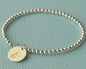 Large Initial Beaded Charm Bracelet - gold filled or sterling silver hand stamped monogram layering customized jewelry adenandclaire