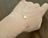 Tiny Button Bracelet - simple gold filled or sterling silver tiny modern small delicate layering bracelet everyday jewelry - adenandclaire