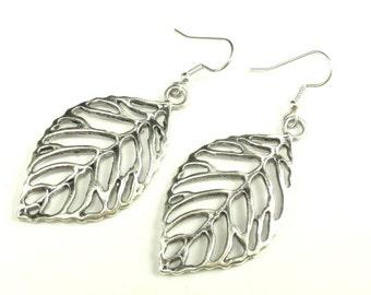 Earring-Large Leaf in Silver