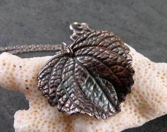 Heart leaf pendant, handmade eco friendly coleus leaf necklace-OOAK