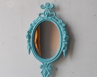 Miniature Mirror in Vintage Decorative Frame, Blue Nursery Decor, Office Cubicle Wall, Fairy Garden, Pastel Goth, Blue Bathroom Decor