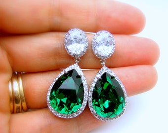 wedding bridal bridesmaid christmas statement earrings Clear teardrop AAA cubic zirconia and swarovski emerald green crystal on oval cz post