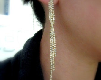 bridal earrings wedding earrings prom gift  bridal jewelry wedding Clear white curtain style rhinestone chandelier style post with twist