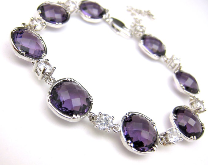 bridesmaid gift bridesmaid bracelet bridesmaid jewelry Clear white cz with amethyst purple quartz glass bracelet - Free US shipping