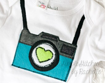 SALE - 25% OFF – RTS Turquoise, Gray and Green Camera Applique Bodysuit - 18 month size Bodysuit - Camera Applique - Ready To Ship
