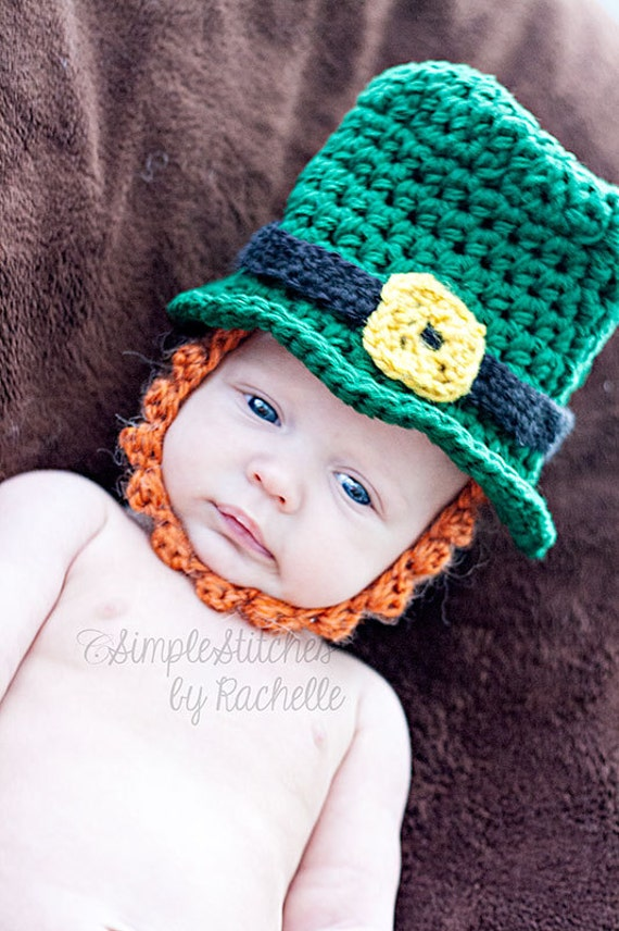 Crochet Pattern Leprechaun Hat : RTS Crochet Newborn Leprechaun Hat Crochet Hat Leprechaun