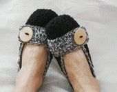 Crochet Slippers Womens Flats Black  Salt and Pepper