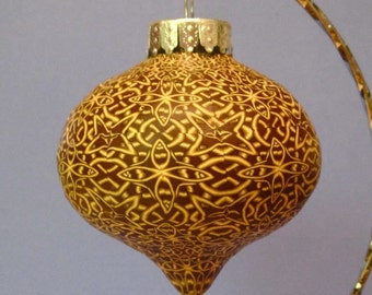 Polymer clay interlaced cane ornament