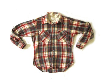 vintage mens shirt 1980s clothing lumberjack plaid burnt sienna mustard size large l