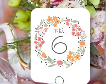 Charming Table Number / Set of 12 / Colorful wreath / Flower garden / Vintage charm / great for wedding, birthday party and celebrations