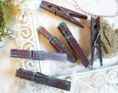 Midi Decorative Clothespins. Chocolate Brown with Mint Green. Handpainted - Imperfect Beauties